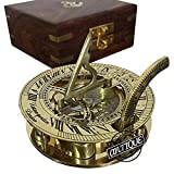 Antique Vibes Brass Sundial Compass in Wooden Box Vintage Sun Clock(Sailor's Gifts)