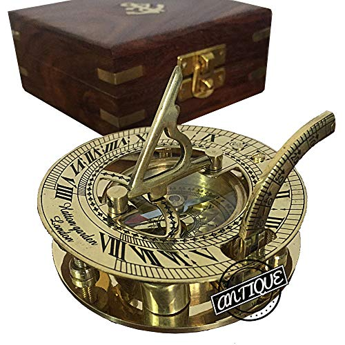Antique Vibes Brújula de latón con caja de madera, reloj de sol vintage (regalos del correo)