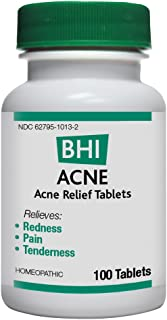 BHI Acne Relief Tablets - Homeopathic Formula for Temporary Relief of Minor Acne Symptoms - 100 Count