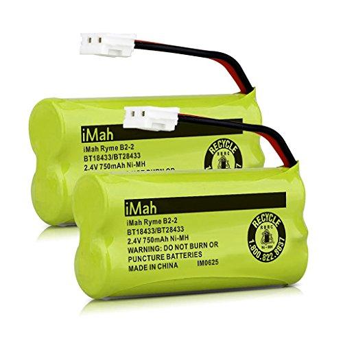 iMah BT18433/BT28433 2.4V 750mAh Ni-MH Battery Also Compatible with AT&T VTech Cordless Phone CS6229 BT184342 BT284342 BT183348 BT283348 BT8300 BT1011 BT1018 BT1022 BT1031 2SN-AAA55H-S-J1, 2-Pack