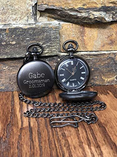 Personalized Gunmetal Pocket Watch