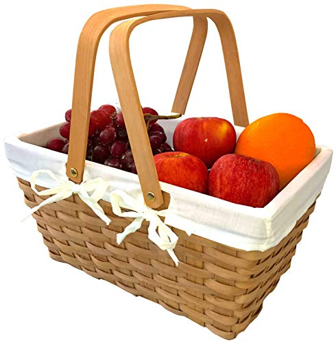 Picnic Basket Natural Woven Woodchip with Double Folding Handles | Easter Basket | Storage of...