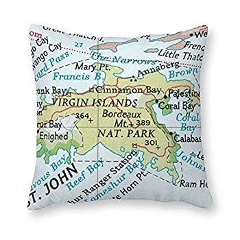 ArogGeld Waterproof Outdoor Throw Pillow Cover,St John USVI Vintage Map Cushion Cover,Outdoor Decorative Pillow case for Garden Patio Tent Couch,Housewarming Gift,18 ×18
