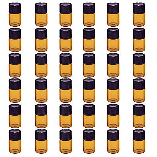 Hacoly 36 Pcs 2 ML Ambre Brown Verre Bouteilles D'huile Essentielle avec Orifice Réducteur et Screwcap Vide Liquide Petit Échantillon Collection Flaco