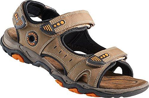 Nordcap Trekkingsandalen, Damen- und Herren- Sandalen, Wander- und Outdoor- Sandalen mit regulierbaren Schnallen und Profilsohle für mehr Trittsicherheit (Größen: 37-46, Farbe: Braun/Orange)