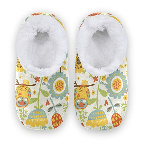 Rxyy - Pantuflas con diseño de búho, para mujeres y hombres, unisex, para invierno, cálidas, pantuflas para casa, calcetines Fuzzy pies para el dormitorio, color Multicolor, talla 36/37 EU