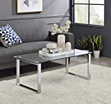 Kings Brand Furniture - Modern Chrome with Glass Top Cocktail Coffee Table