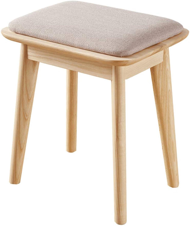 Makeup Chair Solid Wood Makeup Stool Simple Dressing Stool Bedroom Creative Stool Vanity Stool Makeup Chair Vanity Stool (color   Wood color, Size   40x30x45cm)