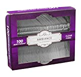 Crystalware, Heavy-Weight Clear Plastic Forks, Durable, Disposable, Box of 100