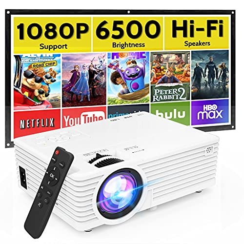 Mini Video Projector with 6500 Brightness, 1080P Supported, Portable Outdoor Movie Projector, 176'...