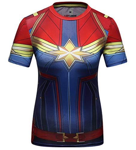 Cody Lundin - Camisas de fitness para mujer, diseño de capitán en 3D, manga corta y manga larga