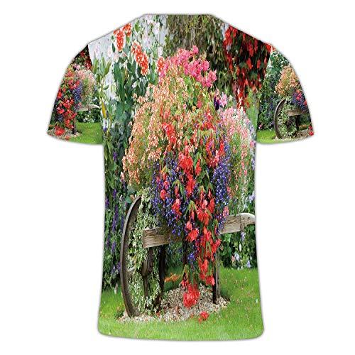C COABALLA English Country Garden Flower Wheelbarrow Flower,Couple Cool Short Sleeve Crew Neck T-Shirt Formal Garden XL