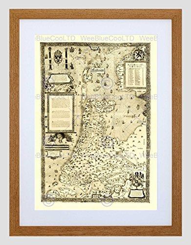 Wee Blue Coo Kaart Antiek Nederland Ouden Beeld Ingelijst Muur Art Print