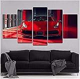WLHZNB Impressions sur Toile 5 Pièces Art Mural Cool Voiture De Sport Moderne Rouge Ferrari Décoration De La Maison Affiche Photo Salon (Taille 2) Pas De Cadre