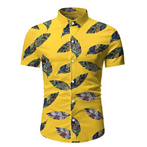 Camisa de Manga Corta para Hombre Vacaciones Hawaiano Patrn de Hoja Camisa de Manga Corta Camisa Informal Delgada con Solapa XXL