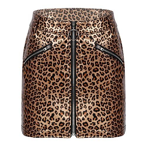 CHICTRY Mini Falda Mujer Atractiva Cuero de Imitación Negro Ropa Erótica Chica Wetlook con Cremallera Bodycon Latex Clubwear Sexy Girl Skirt Leopardo XL