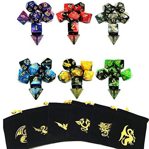 Polyedrische Würfel, 6 x 7 (42 Pieces) Doppel-Farben Spielwürfel, für RPG Dungeons und Dragons Pathfinder mit 6 Stück Schwarz Beutel, 6 Set von d20, d12, 2 d10 (00-90 und 0-9), d8, d6 und d4