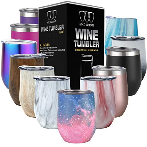 Stainless Steel Stemless Wine Glass Tumbler with Lid, 12 oz | Double Wall