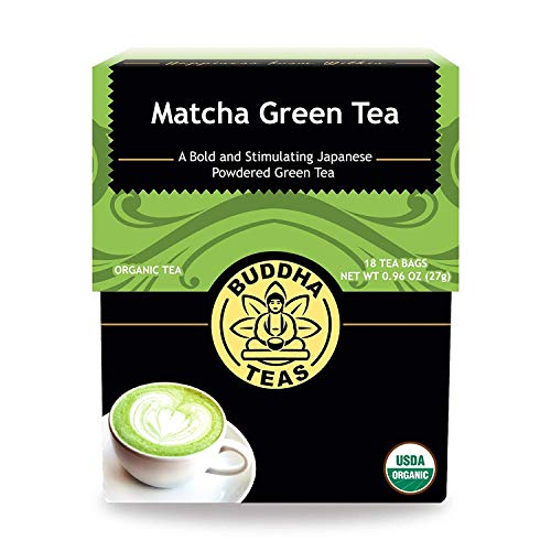 Buddha Teas Organic Matcha Green Tea | 18 Bleach-Free Tea Bags | Higher Chlorophyll and EGCG Content Than All Other Green Teas | Caffeinated | Antioxidants | Made in the USA | No GMOs