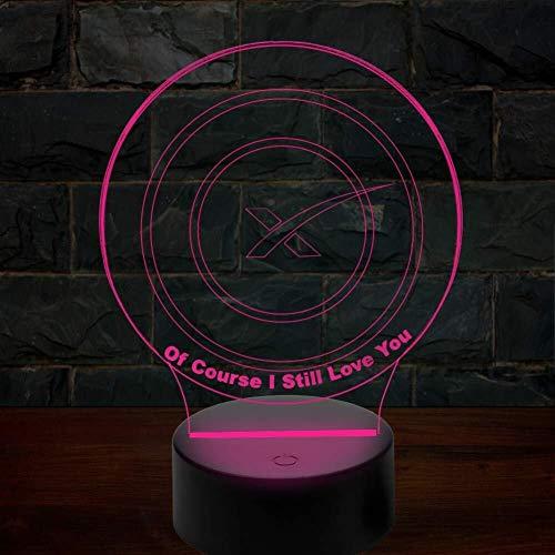 Illusion 3D de cours I Still Love You Lampe LED avec capteur tactile 7 couleurs Chambre chevet Bureau Lampe décorative Enfants Fête d'Halloween cadeaux d'anniversaire de charge USB lumière de nuit