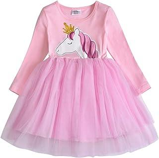VIKITA Vestitos Bambina Principessa Unicorno Casuale Cotone Abiti LH4561 8T