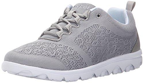 Propet Women's TravelActiv Sneaker, Silver, 9 Wide