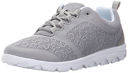 Propet Womens TravelActiv Sneaker, Silver, 6 Medium