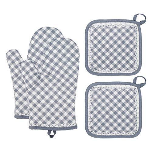 Ofenhandschuhe, SenPuSi Ofenhandschuhe und Topflappen Set Hitzebeständige Anti-Rutsch Design Topfhandschuhe Geeignet für Kochen, Backen, Grillen, 1 Paar und 2 Topflappen