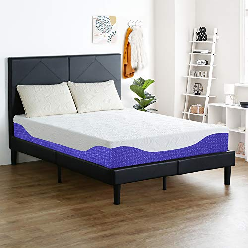 PrimaSleep 12 Inch Multi-Layered I-Gel Infused Memory Foam Mattress | Cobalt Blue | Queen