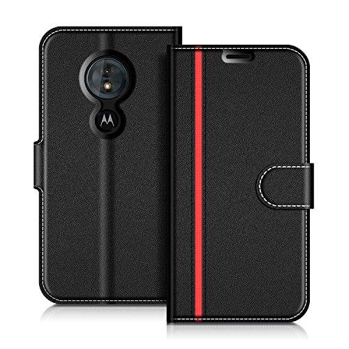 COODIO Handyhülle für Motorola Moto G6 Play Handy Hülle, Motorola Moto G6 Play Hülle Leder Handytasche für Motorola Moto G6 Play Klapphülle Tasche, Schwarz/Rot