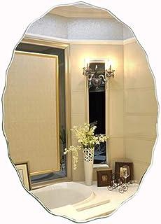 YIFeiG Espejo de Baño Lateral Ondulado, Espejo de Afeitado Ovalado, Espejo de Vanidad Montado en La Pared, 20X28in / 24X32in, Espejo Sin Marco/HD