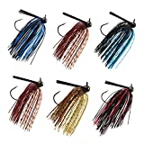 Bass Weedless Football Jig - 6pcs Flipping Jig Silicon Rubber Skirt for Bass Artificial Baits Fishing Lure Kit 1/4oz-3/8oz