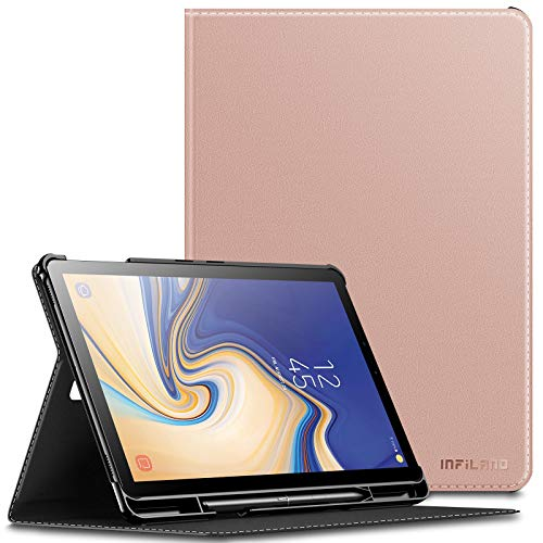 INFILAND Funda Compatible for Samsung Galaxy Tab S4 10.5,Super Delgada Cascara con portaplumas para Galaxy Tab S4 10.5 (SM-T830/SM-T835) 2018(con Auto Reposo/Activación Función),Rosa Dorado