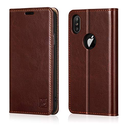 Belemay iPhone Xs Max Wallet Case, Genuine Leather Case Slim Fit Folio Book Flip Cover [Durable Soft Inner Case] Card Holder Slots, Kickstand, Cash Pockets Compatible iPhone Xs Max (6.5-inch), Brown