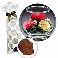 花とスイーツのセット プリザーブドフラワー(ドーム型)&熟成ケーキ(誕生日 記念日 洋菓子 フラワー 母の日 ギフト プレゼント )