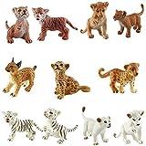 FLORMOON Figura Animal Realista 11 unids Figuras de Animales Lindos Set de Juguetes para estatuillas de Perro Emulational pintadas a Mano Leones Tigres Guepardos Lince Set de Juguete de estatuilla