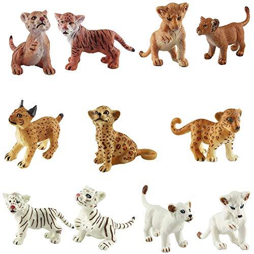 FLORMOON Figura Animal Realista 11 unids Figuras de Animales Lindos Set de Juguetes para estatuillas de Perro Emulational pintadas a Mano Leones Tigres Guepardos Lince Set de Juguete de estatu
