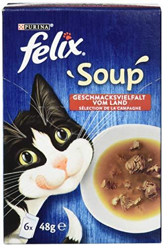Felix Katzennassfutter Soup Geschmacksvielfalt vom Land mit Rind, Huhn, Lamm, 8er Pack (8 x 6 x 48 g) Portionsbeutel