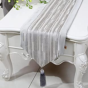 Zfggd Table Runner Stripe, Coffee Table TV Cabinet Classical Living Room Kitchen (Color  Light grey, Size  33 * 200cm)