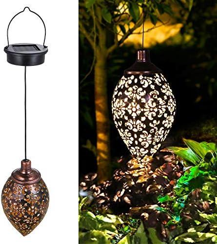 Tomshine Hanging Solar Lights 2 Pack Solar Lantern LED Garden Lights Metal Lamp Waterproof for product image