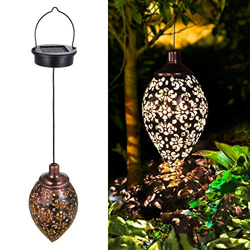 Tomshine Solar Lantern Light,Outdoor Hanging Garden Lights Metal Lamp for Patio, Patio Decor Metal Yard Art Garden Accessories Outdoor Decorations for Porch,Yard, Lawn, Patio, Courtyard