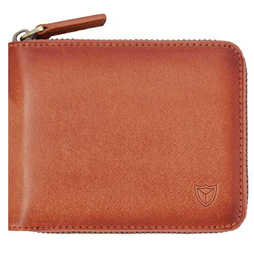 RFID Men's Leather Zipper wallet Zip Around Wallet Bifold Multi Card Holder Purse (Vegetable-tanned, Handmade Caramel)