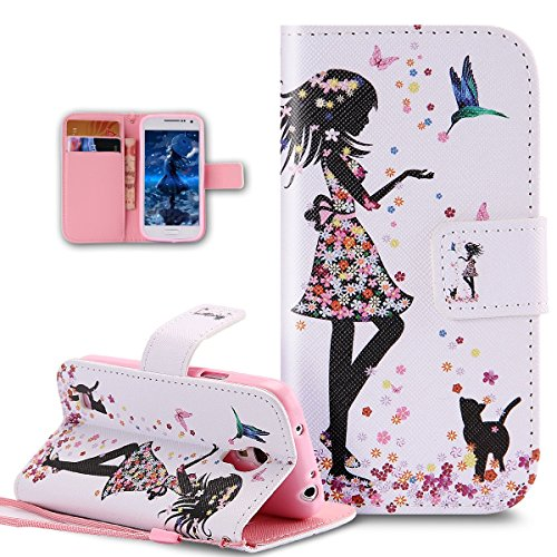 Kompatibel mit Galaxy S4 Mini Hülle,Galaxy S4 Mini Handyhülle,Bunte Gemalt Malerei PU Lederhülle Handyhülle Taschen Tasche Flip Wallet Ständer Schutzhülle für Galaxy S4 Mini,Vogel Blumen Kleid Mädchen