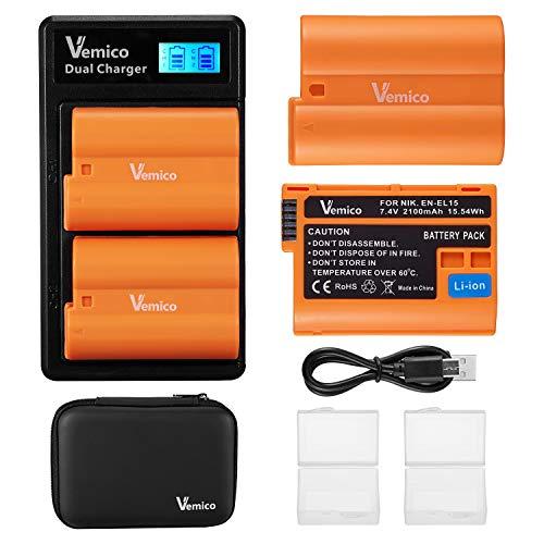 Vemico EN-EL15 Batería Cargador 2 X 2100mAh Reemplazo Batería y Cargador Doble...
