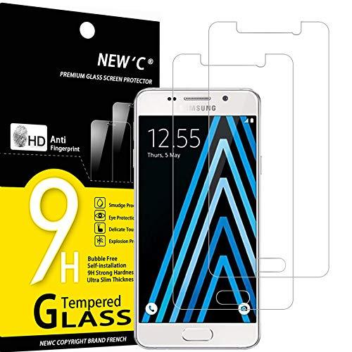 NEW'C 2 Stück, Schutzfolie Panzerglas für Samsung Galaxy A3 2016, Frei von Kratzern, 9H Festigkeit, HD Bildschirmschutzfolie, 0.33mm Ultra-klar, Ultrawiderstandsfähig