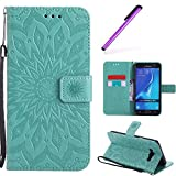 HMTECH Galaxy J7 2016 Flip Leather Case Wallet Cierre de Billetera con Tapa para Tarjetas con Business Card Holder + Stand Function Carcasas Case para Samsung Galaxy J7 2016,Green Sunflower for KT