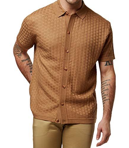 Men's Short Sleeve Knit Sports Shirt - Modern Polo Vintage Classics: Vertical S (Large, Z-Cafe)