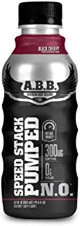 ABB Speed Stack Pumped N.O. Energy Drink, Pre Workout, Nitric Oxide, Arginine and Glycerol for Pumps, Flavor: Black Cherry, 22 Ounce Bottles, 12 Count