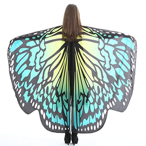 EDOTON Schmetterlingsflügel für Frauen, Nymphe Pixie Kostüm Zubehör Schals Party Cosplay Tanzkostüm (B_ Gelb Grün)