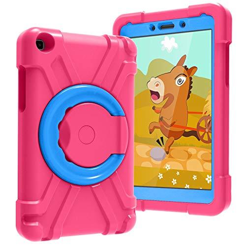 Tablet PC Bolsas Bandolera Cubierta de tabletas para niños para Samsung Galaxy Tab A T290 / T295, con soporte de mango plegable, soporte giratorio, cubierta protectora a prueba de golpes resistente y